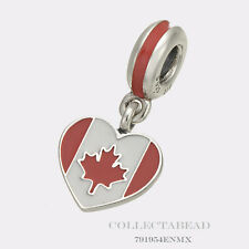 Authentic Pandora Silver Dangle Enamel Canada Heart Flag Bead 791954ENMX