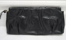 MS BY MARTINE SITBON black snake textured leather clutch handbag