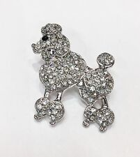 BEAUTIFUL CLEAR DIAMANTE POODLE DOG CANINE BROOCH PIN