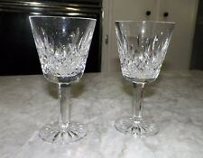 "PAIR (2) WATERFORD CRYSTAL LISMORE WINE GLASSES 5 3/4"" TALL 3"" ACROSS USED"