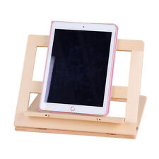 Adjustable Tablet Ipad Kindle Stand Unfinished Wood Foldable Holder Bracket NEW