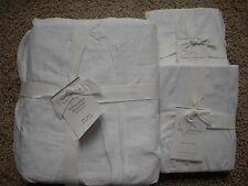POTTERY BARN Hadley Ruched FULL/QUEEN Duvet & 2 EURO Shams NEW - White