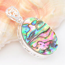 Gorgeous Handmade Ovl Natural Abalone Shell Gems Silver Necklace Pendant