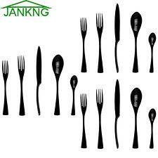 15 Pcs Black Flatware Set Cutlery Silverware Dinner Service Fork Tea Spoon Knife