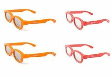 4 Pairs of Children's Passive 3D Glasses 2 Red 2 Orange LG Toshiba Cinemas LG