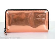 ALEXANDER McQUEEN COPPER LEATHER FAITHFUL LOGO CONTINENTAL ZIP WALLET PURSE BNWT