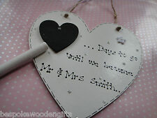 Wedding Countdown Personalised Plaque Chalkboard Bride Engagement Gift Present
