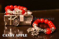 Elegant Glass Rosary Bracelet (Candy Apple)