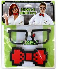Pixel 8 Bit NERD KIT Glasses Bow Tie & Pocket Protector Set GAMER Costume Props