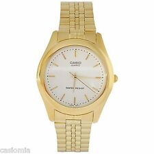 Casio MTP1129N-7A Mens Gold-Tone Stainless Steel Dress Watch White Dial NEW