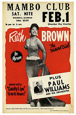 "Ruth Brown Mambo Club 16"" x 12"" Photo Repro Concert Poster"