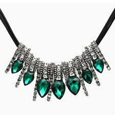 Luxury Vintage Style Emerald Green Floating Pendant Choker Long Necklace N347