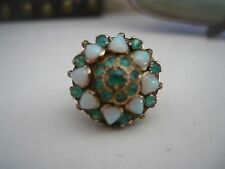 HANDMADE 14K YELLOW GOLD RING WITH 17 EMERALDS & 8 OPALS SIZE 4.5 4-1/2 4 GRAMS