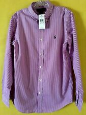 NEW Polo Ralph Lauren Boy's Shirt XL Striped Poplin Purple Navy Pony Long Sleeve