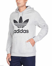 adidas Mens Trefoil Logo Hoody Overhead Fleece Retro Red Navy Black Grey