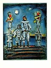"1977 Vintage ROUAULT ""BLUE PIERROTS"" COLOR offset Lithograph"