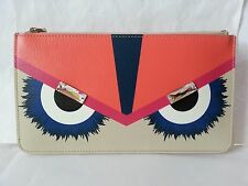NEW Fendi Leather Monster eyes motif Zip Pouch, Multicolor rare item