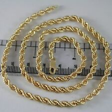 18K YELLOW GOLD CHAIN NECKLACE 4 MM BIG BRAID ROPE MESH 23.60 IN. MADE IN ITALY