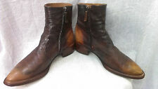 Silvano Sassetti Choc/Brown Side zip Leather ankle Boots,made in Italy, sz.38