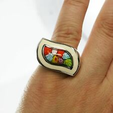Ladies Sterling Silver Italy Murano Glass S Shape Flower Star Band Ring Sz 5.75