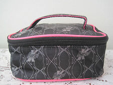 New Daryl K for Beauty.com Black & Pink Canvas Overnight Kitty Makeup Bag/Clutch