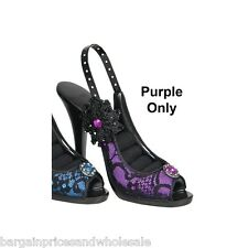 NOVELTY RHINESTONE LACE PURPLE FLOWER BEAD HIGH HEEL SHOE RING HOLDER DISPLAY
