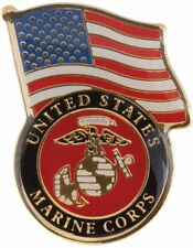 No-Shine (NS-TF04) U.S. Marines with American Flag Lapel Pin
