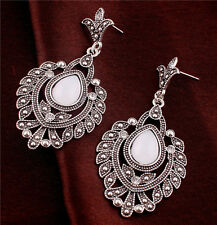 New White Rhinestone Teardrop Ear Jewelry Tibet Silver Flower Leaf Stud Earrings