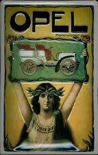 Blechschild Opel Motorwagen Oldtimer Auto Schild Nostalgieschild Alten Rom Frau