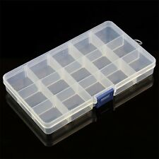 15 Slots Plastic Storage Box Case Home Organizer Earring Jewelry Container LO