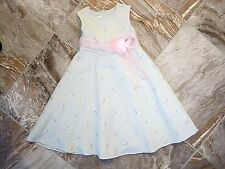 Bonnie Jean Sz 6 Mint Dress w/ Pink Embroidery Flowers & Bow Polyester/Rayon EUC