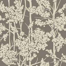 Wallpaper Candice Olson Cream Textured Ink Haven Floral on Pearlescent Pewter