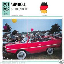 AMPHICAR 1.2LITRE CABRIOLET 1964 1968 CAR VOITURE GERMANY DEUTSCHLAND CARD FICHE