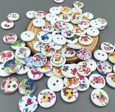 50 PCS DIY   Christmas Series Wooden Sewing Buttons Scrapbooking 2 Holes 15mm