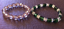 Beautiful Set 2 Elastic Clear Green Stretch Beads Bracelet Strand String
