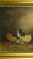 "ANTIQUE 1913 ORIGINAL OIL PAINTING ON CANVAS SCENE WITH 3 CHICKS,SIGNED ""M.S."