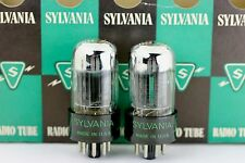 NOS SYLVANIA 6SN7-GTA 6SN7 6SN7GT CHROME-TOP MATCHED PAIR BLACK PLATE Tubes 1954