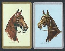 #950.315 vintage swap card -NEAR MINT pair- Horse heads, gold & silver borders