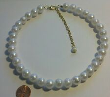 """White Pearl Acrylic Necklace Choker 8mm 16""""  3"""" Extender Gold Plated Chain New"""