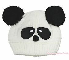 Unisex White Panda Baby Knit Crochet Hat Cap Beanie Cosplay Costume Accessory