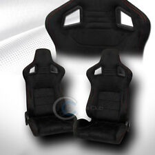 UNIVERSAL MU BLK SUEDE RED STITCH RECLINABLE RACING BUCKET SEATS+SLIDER PAIR C27