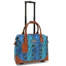 Cabrelli & CO Rolling Tote Carry on Wheeled Laptop Briefcase Bali Reptile Blue