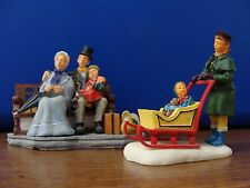 LEMAX Figurines-FAMILY ON PARK BENCH AND BABY CARRIAGE SLED**FREE SHIPPING!!