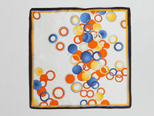 Small Square Silk Scarf Ivory Theme Blue and Orange Polka Dot Print XFJ011