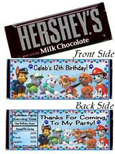 12 Paw Patrol Birthday Party OR Baby Shower Candy Hershey Bar Wrapper Skye Chase