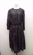 Isabel Marant Etoile Indigo Gauze & Silver Striped Drawstring Boho Dress Sz 42