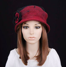 M238 Wine-Red Cute Flower & Lace Winter Warm Wool Cloche Hat Cap Beanie Women's