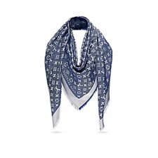 LOUIS VUITTON blue LV logo Monogram denim Shawl Scarf authentic NEW