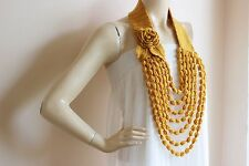Mustard Crochet Necklace-Flower Necklace Scarf-Jewelry Scarf-Handmade Loop Scarf