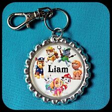 Personalized PAW PATROL Bottle Cap Name Necklace, Jewelry Zipper Pull Pendant ID